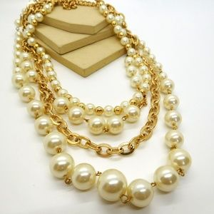 Vintage White Faux Pearl Gold Chain Layer Necklace
